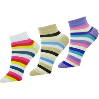 Stonic Womens Striped Ankle Length Socks