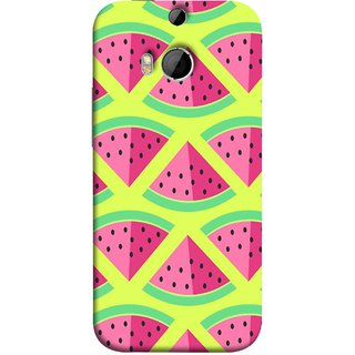 FUSON Designer Back Case Cover For HTC One M8 :: HTC M8 :: HTC One M8 Eye :: HTC One M8 Dual Sim :: HTC One M8s (Watermelon Slice Pattern Of Ripe Handdrawing )