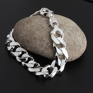 10mm Heavy Mens Sterling Silver Curb Heavy Chain BRACELET  Heavy Gifts