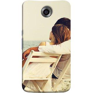 FUSON Designer Back Case Cover For Motorola Nexus 6 :: Motorola Nexus X :: Motorola Moto X Pro :: Google Nexus 6 (Beautiful Husband Wife Lovers Valentines Sitting Sea Shore)