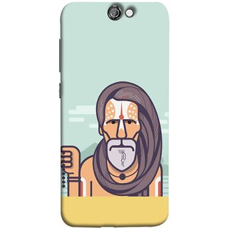 FUSON Designer Back Case Cover For HTC One A9 (Himalaya Sadhu Kumbh Mela Beard Rudraksh Mala)