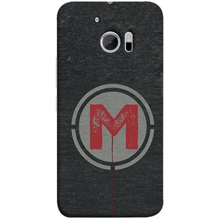 FUSON Designer Back Case Cover For HTC 10 :: HTC One M10 (M Is Ok Initial Red Glossy Round Icon M Random Red)