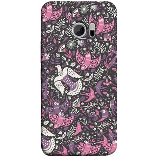 FUSON Designer Back Case Cover For HTC 10 :: HTC One M10 (Pink White Beige Colour Leaves Flowers Walldesign Gift )