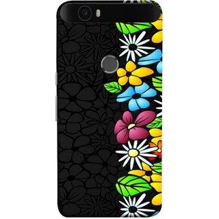 FUSON Designer Back Case Cover For Huawei Nexus 6P :: Huawei Google Nexus 6P (Multicolour Flowers Phul Gray Geen Leaves Beautiful)