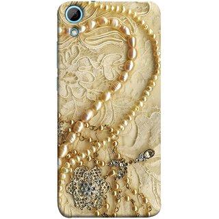 FUSON Designer Back Case Cover For HTC Desire 828 Dual Sim (Perals Diamonds Pendent Gold Hand Embroidery Stitches)