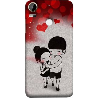 FUSON Designer Back Case Cover For HTC Desire 10 Pro (Couple Enjoying Beautiful Lovers Red Hearts)
