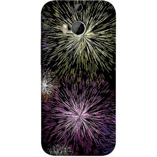 FUSON Designer Back Case Cover For HTC One M8 :: HTC M8 :: HTC One M8 Eye :: HTC One M8 Dual Sim :: HTC One M8s (Dark Night Fireworks Diwali Dipawali Flowers )