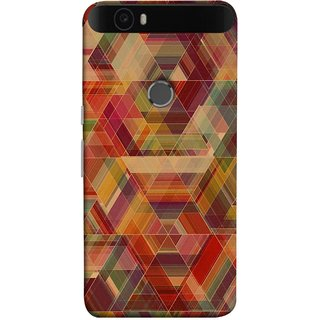 FUSON Designer Back Case Cover For Huawei Nexus 6P :: Huawei Google Nexus 6P (Geometric Watercolour Art Print Pink Bright)