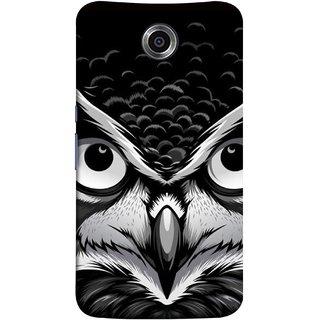 FUSON Designer Back Case Cover For Motorola Nexus 6 :: Motorola Nexus X :: Motorola Moto X Pro :: Google Nexus 6 (Grey Owl Night Vision Big Beak Killing Look)