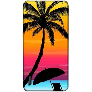 FUSON Designer Back Case Cover For Huawei Ascend P7 (Colorful Island Sunset Painting Canvas Wallpapers )
