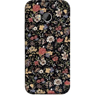 FUSON Designer Back Case Cover For HTC One M8 :: HTC M8 :: HTC One M8 Eye :: HTC One M8 Dual Sim :: HTC One M8s (Cotton Quilt Fabric Susie Butterfly Floral )