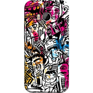 FUSON Designer Back Case Cover For HTC One M8 :: HTC M8 :: HTC One M8 Eye :: HTC One M8 Dual Sim :: HTC One M8s (Many People Mob Looking Shouting Laughing Stars )