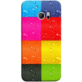 FUSON Designer Back Case Cover For HTC 10 :: HTC One M10 (Water Droplets Multicolour Blue Red Pink Sky )
