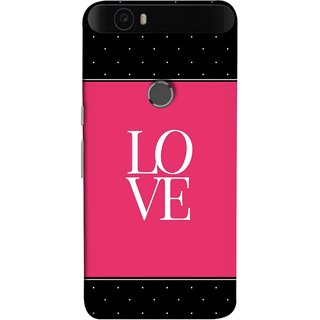 FUSON Designer Back Case Cover For Huawei Nexus 6P :: Huawei Google Nexus 6P (White Dots On Black Background Prem Pyar)