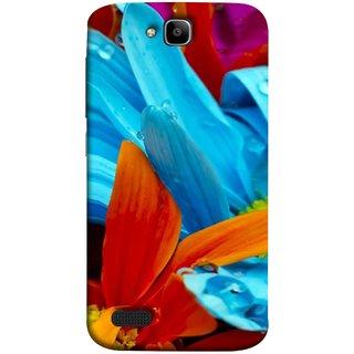 FUSON Designer Back Case Cover For Huawei Honor Holly (Blue Prange Pink Multicolor Pink Flowers Patterns)