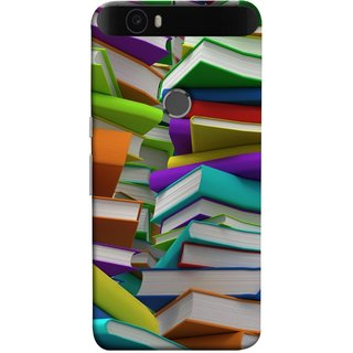 FUSON Designer Back Case Cover For Huawei Nexus 6P :: Huawei Google Nexus 6P (Stack Of Colorful Books White Pages School)