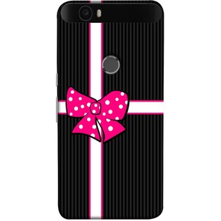 FUSON Designer Back Case Cover For Huawei Nexus 6P :: Huawei Google Nexus 6P (Gift Box Wrapped In Black And White Striped Paper)