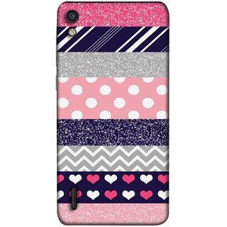 FUSON Designer Back Case Cover For Huawei Ascend P7 (Colourful Patterns Hearts Lines Checks Dark Red )