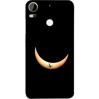 FUSON Designer Back Case Cover For HTC Desire 10 Pro (Black Background Yellow Moon Beam Lovely Picture)