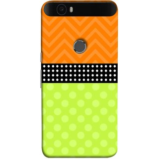 FUSON Designer Back Case Cover For Huawei Nexus 6P :: Huawei Google Nexus 6P (Pack Craft Paper White Dots On Black Background)