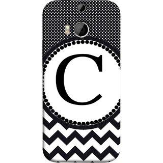 FUSON Designer Back Case Cover For HTC One M8 :: HTC M8 :: HTC One M8 Eye :: HTC One M8 Dual Sim :: HTC One M8s (Alphabets Dots Black Shade Wave Patterns White)
