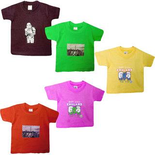 Jisha Boys Tshirt assorted color cotton TCC (Pack of 5)