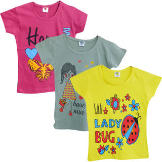 Jisha Girls Round Neck short sleeves top assorted color RKG ( Pack of 3)