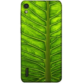 FUSON Designer Back Case Cover For Huawei Ascend P7 (Bright Green Leaf Of Tree Full Of Life Network Of Veins)