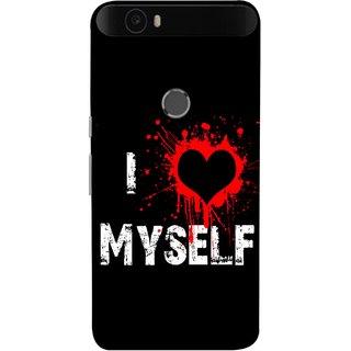FUSON Designer Back Case Cover For Huawei Nexus 6P :: Huawei Google Nexus 6P (I Love Myself Bloody Heart Black Background)
