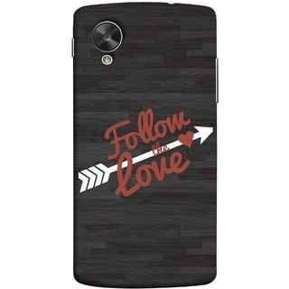 FUSON Designer Back Case Cover For LG Nexus 5 :: LG Google Nexus 5 :: Google Nexus 5 (Hearts Alone Arrow White Follow Worlds)