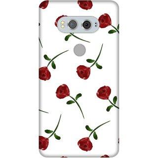 Print Opera Hard Plastic Designer Printed Phone Cover for Lg V20 Artistic  red flower with white background
