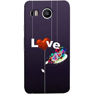 FUSON Designer Back Case Cover For LG Nexus 5X :: LG Google Nexus 5X New (Hearts Hanging Ropes Free Love Tree Multicolour)