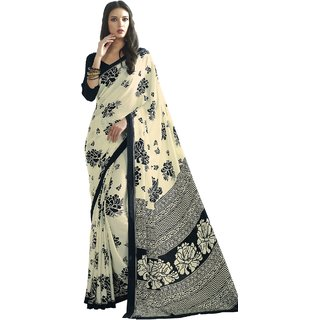 8dc11825df Buy Black Crepe Printed Saree with Unstitched Blouse Online @ ₹1899 ...