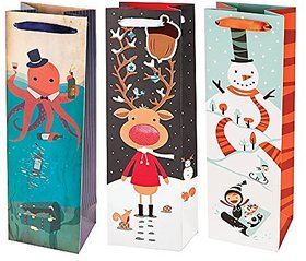 Octopus Rudolph & Snowman Gift Bag (Set Of 3) | Par