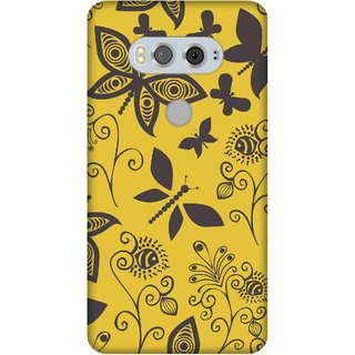 Print Opera Hard Plastic Designer Printed Phone Cover for  Lg V20 Beautiful yellow flying insects art