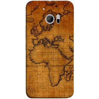 FUSON Designer Back Case Cover For HTC 10 :: HTC One M10 (World Map Altitude And Longitude Countries India )