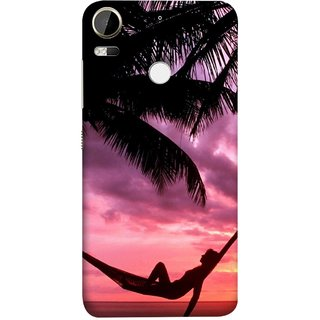 FUSON Designer Back Case Cover For HTC Desire 10 Pro (Sunset Beach Hammock Chillout Wallpapers Palmtrees)
