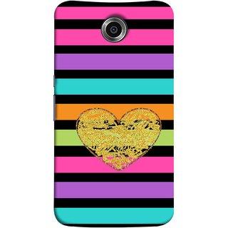 FUSON Designer Back Case Cover For Motorola Nexus 6 :: Motorola Nexus X :: Motorola Moto X Pro :: Google Nexus 6 (Sprinkle Gold Glitter Heart Flag Hearts Valentine)