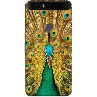 FUSON Designer Back Case Cover For Huawei Nexus 6P :: Huawei Google Nexus 6P (Nice Colourful Long Peacock Feathers Beak)