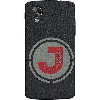 FUSON Designer Back Case Cover For LG Nexus 5 :: LG Google Nexus 5 :: Google Nexus 5 (Dark Alphabet Circle Vintage Grey Circle Pattern J)