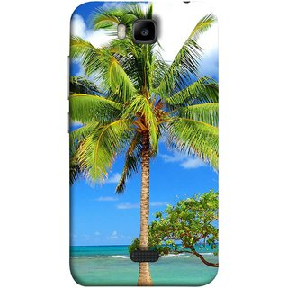 FUSON Designer Back Case Cover For Huawei Honor Bee :: Huawei Honor Bee Y5c (Palmtrees At The Beach Sea Blue Sky New Horizons )