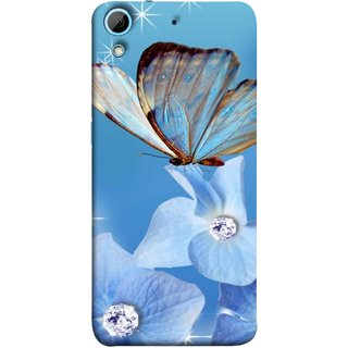 FUSON Designer Back Case Cover For HTC Desire 626G :: HTC Desire 626 Dual SIM :: HTC Desire 626S :: HTC Desire 626 USA :: HTC Desire 626G+ :: HTC Desire 626G Plus (In Center Glitter Diamonds Flowers Butterfly Nature)