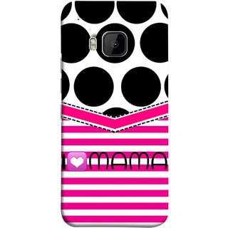 FUSON Designer Back Case Cover For HTC One M9 :: HTC One M9S :: HTC M9 (Pink Design Paper Big Black Circles Bubbles Mother )