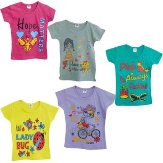 Jisha Girls Round Neck short sleeves top assorted color RKG ( Pack of 5)