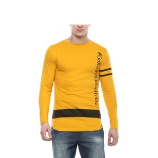 Urbano Fashion Men's Yellow Printed Full Sleeve Cotton T-Shirt