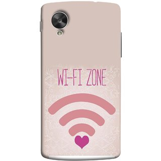 FUSON Designer Back Case Cover For LG Nexus 5 :: LG Google Nexus 5 :: Google Nexus 5 (Love Wifi Zone Connect With Lovers Couples Hearts)