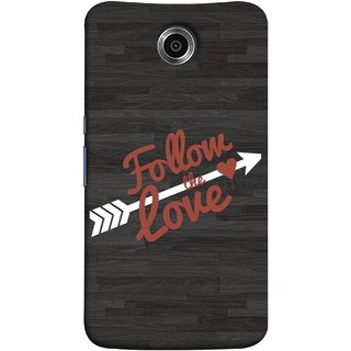 FUSON Designer Back Case Cover For Motorola Nexus 6 :: Motorola Nexus X :: Motorola Moto X Pro :: Google Nexus 6 (Hearts Alone Arrow White Follow Worlds)
