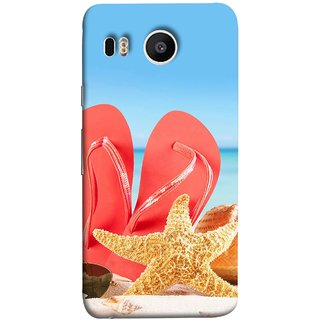 FUSON Designer Back Case Cover For LG Nexus 5X :: LG Google Nexus 5X New (Tropical Beach In Summer Holiday Toy Table Red Chappal)