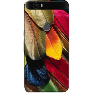 FUSON Designer Back Case Cover For Huawei Nexus 6P :: Huawei Google Nexus 6P (Birds Feathers Parrot Peacock Long Blue Colour)