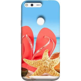 FUSON Designer Back Case Cover For Google Pixel (Tropical Beach In Summer Holiday Toy Table Red Chappal)
